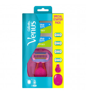 Gillette Venus Snap Women's Portable Razor With Case and 4 Blades Starter Pack