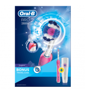 Oral-B Pro2 3D White Rechargeable Electric Toothbrush pink with travel case