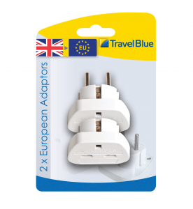 Travel Blue Tech 2 x European Travel Plug (Non Earthed Adaptor)