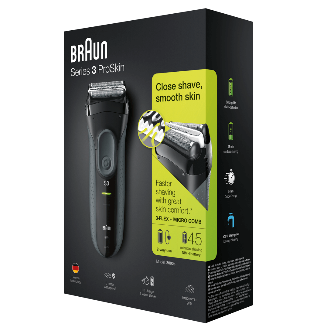 braun series 3 proskin 3000s rechargeable electric shaver. Black Bedroom Furniture Sets. Home Design Ideas