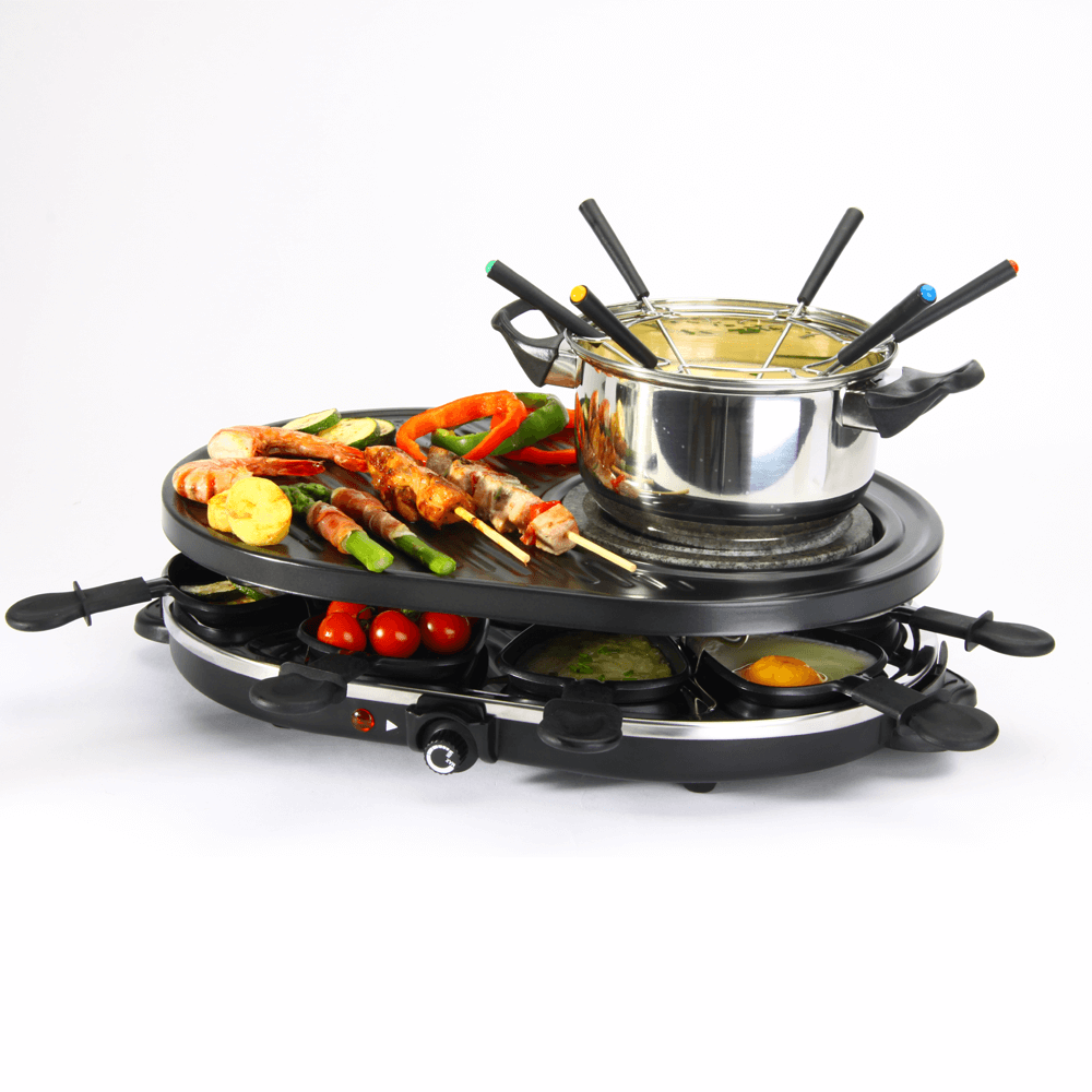Global Gourmet 8 Person Swiss Party Grill With Fondue Pot