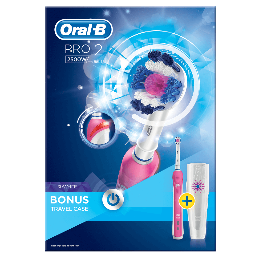 Oral B Pro2 3d White Rechargeable Electric Toothbrush Pink With Travel Case Mashco