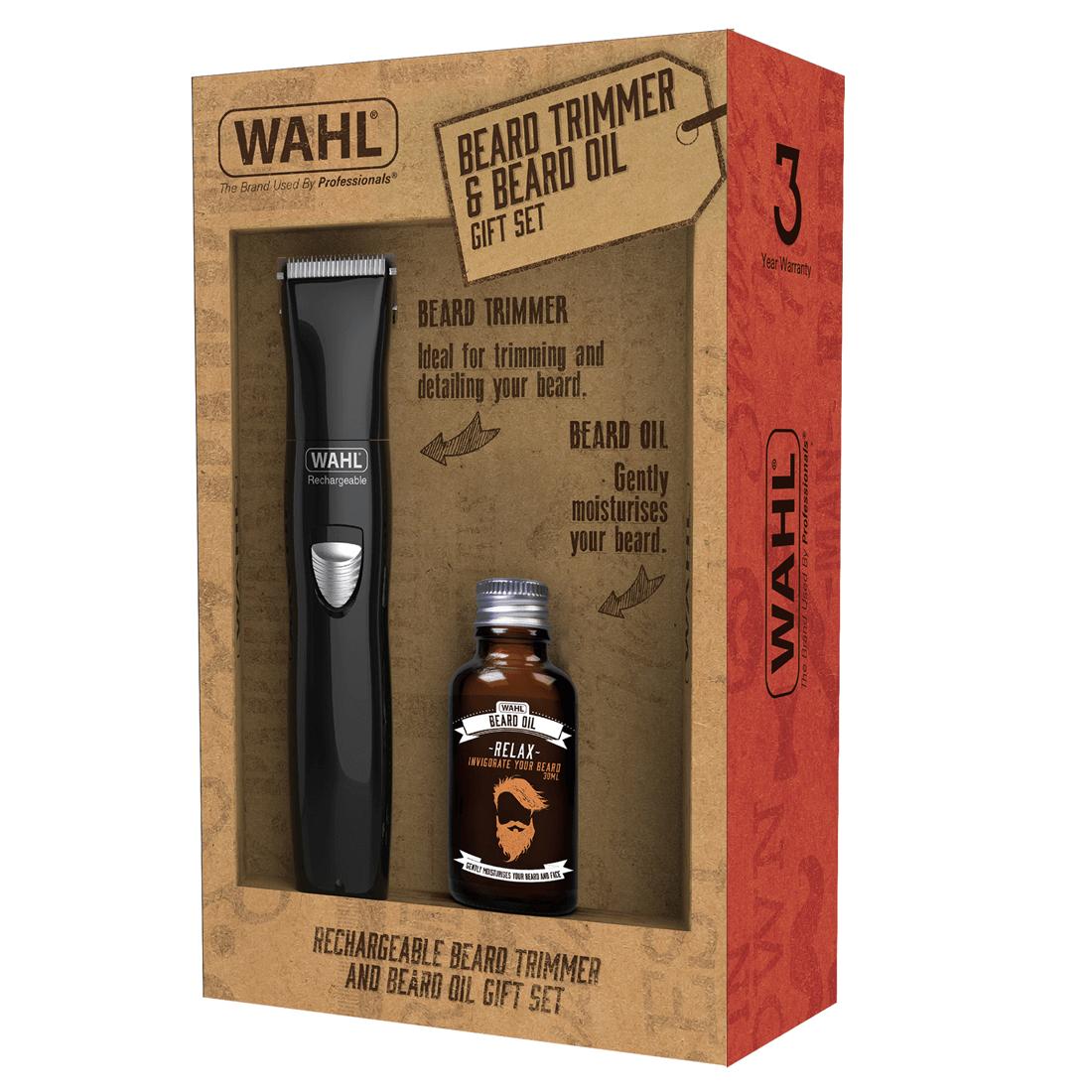 wahl gift set rechargeable trimmer beard oil 805 mashco. Black Bedroom Furniture Sets. Home Design Ideas