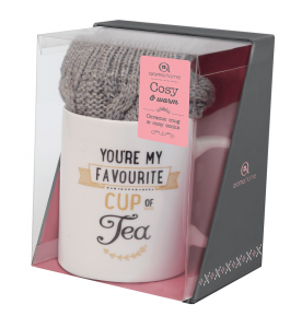 Aroma Home Printed Ceramic Mug & Cosy Socks (Grey)