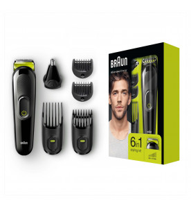 Braun 6-in-1 All-in-one trimmer MGK3021, Beard Trimmer & Hair Clipper, Black/Volt Green