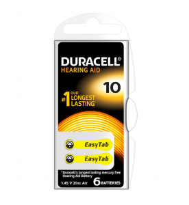 Duracell EasyTab 10 (230) Hearing Aid Batteries (Card of 6)