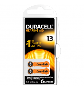 Duracell Easy Tab 13 Hearing Aid Batteries (Card of 6)