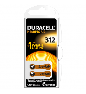 Duracell EasyTab 312 Hearing Aid Batteries (Card of 6)