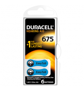 Duracell EasyTab 675 Hearing Aid Batteries (Card of 6)