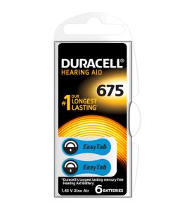 Duracell EasyTab 675 Hearing Aid Batteries (Card of 6)