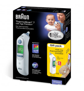 Braun ThermoScan 7 with Age Precision Ear Thermometer. Gift pack with Toy Thermometer